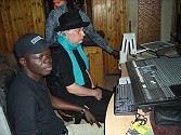Hasse with technician Moussa Diagne at Mobil Sound Studios in Dakar